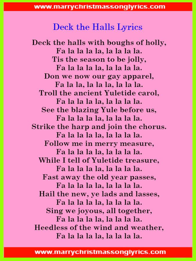 Deck the Halls Lyrics Image