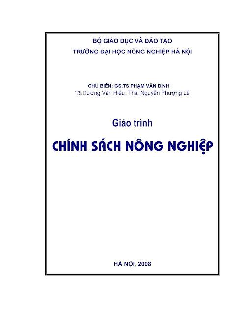 [EBOOK] GIÁO TRÌNH CHÍNH SÁCH NÔNG NGHIỆP, GS. TS. PHẠM VÂN ĐÌNH (CHỦ BIÊN) ET AL., TRƯỜNG ĐẠI HỌC NÔNG NGHIỆP HÀ NỘI
