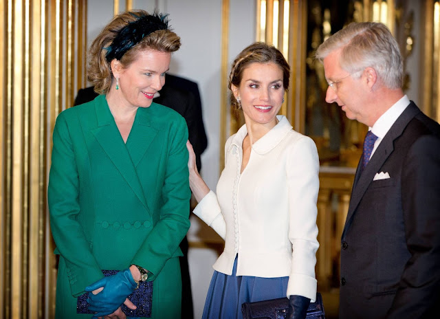 Queen Letizia of Spain visit Queen Mathilde of Belgium at the Royal Palace in Brussels - Belgium