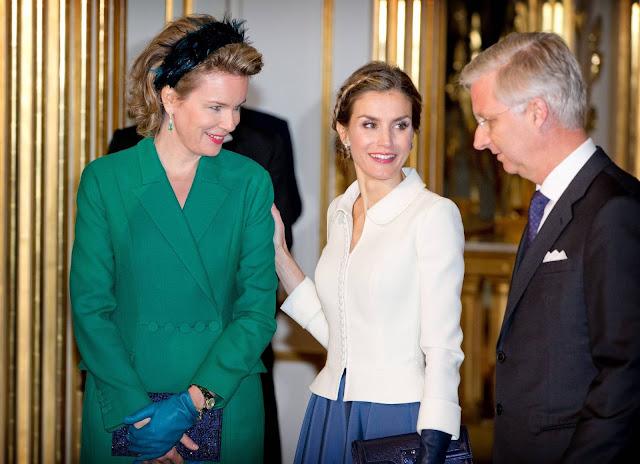 Queen Letizia of Spain visit Queen Mathilde of Belgium at the Royal Palace in Brussels - Belgium