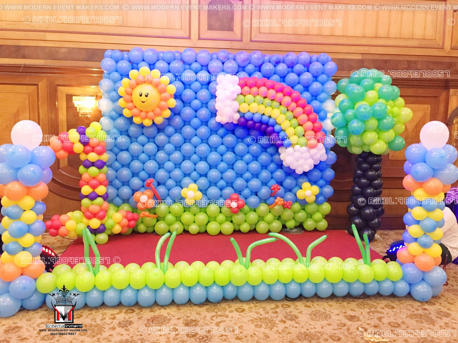 Event management company balloon decoration modern for Balloon decoration birthday party hyderabad