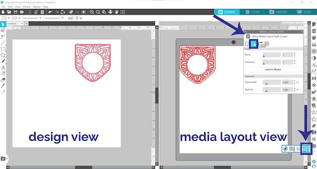 matrix copy tool, business edition, silhouette studio business edition, page setup panel, mandala