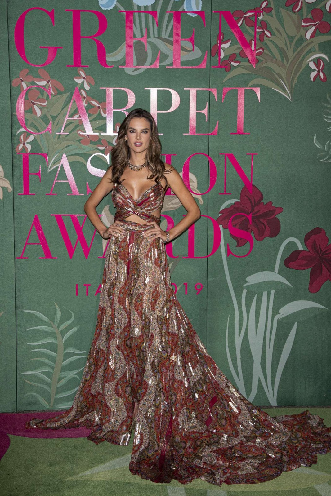 Alessandra Ambrosio sizzles in Etro at the 2019 Green Carpet Fashion Awards in Milan