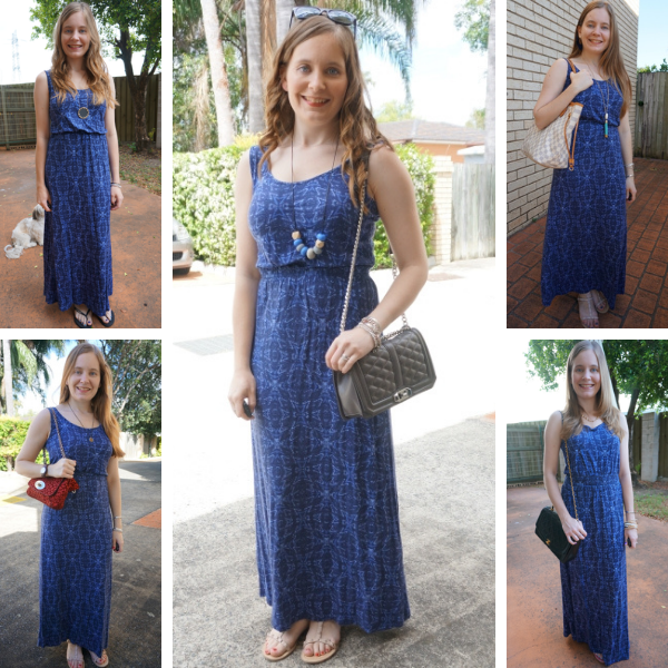 5 ways to wear navy blue printed empire jersey maxi dress