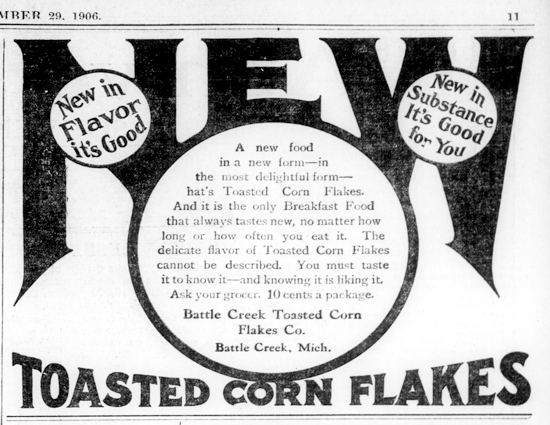 Sanitas Toasted Corn Flakes, advertising Sept. 29, 1906