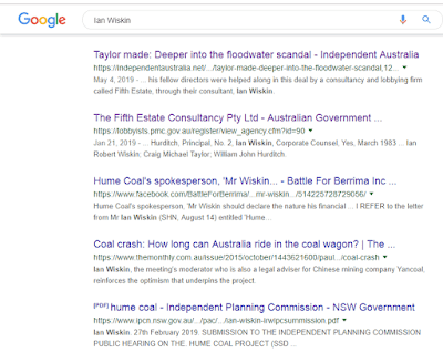"Google search on name ""Ian Wiskin"" in Watergate mire"