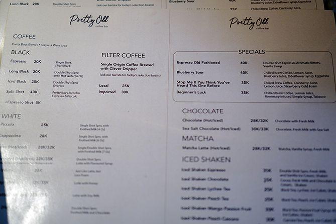Daftar menu dan harga di kedai Pretty Odd Coffee Bar Jogja