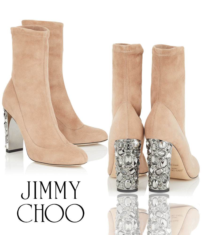 Jimmy Choo Maine 100 Ballet Pink Stretch Suede Booties with Metallic Embellished Heel