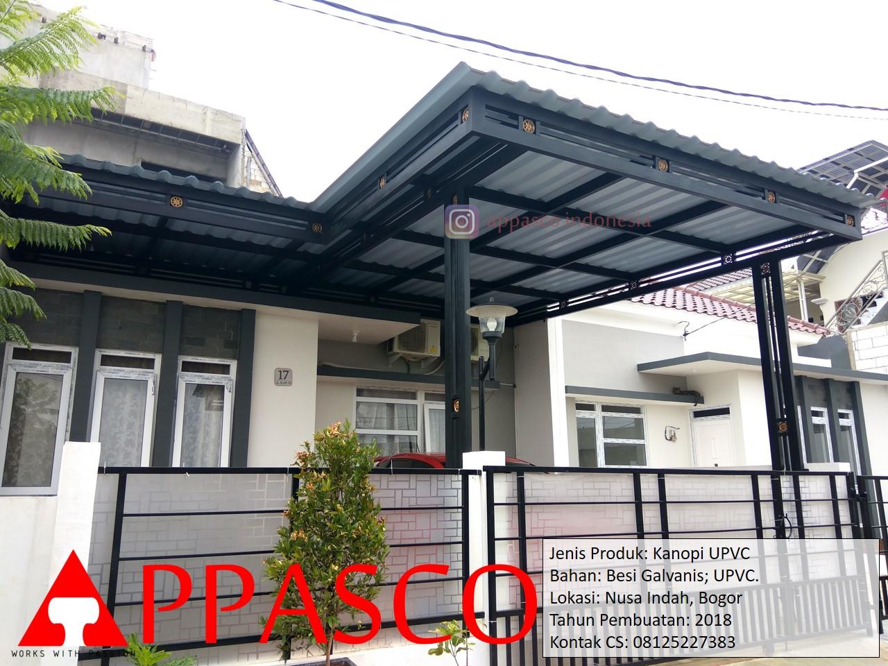 Kanopi UPVC Besi Galvanis di Nusa Indah Bogor