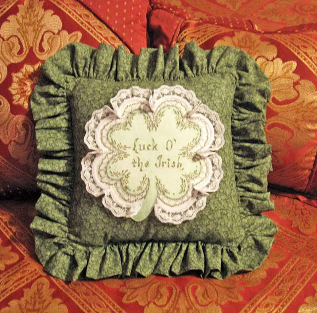 Hand Tinted Pillow with Luck O' the Irish Four Leaf Clover