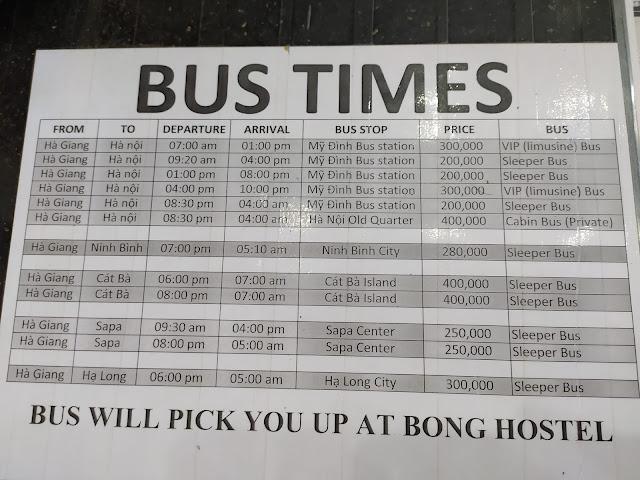 Horarios autobuses desde Ha Giang
