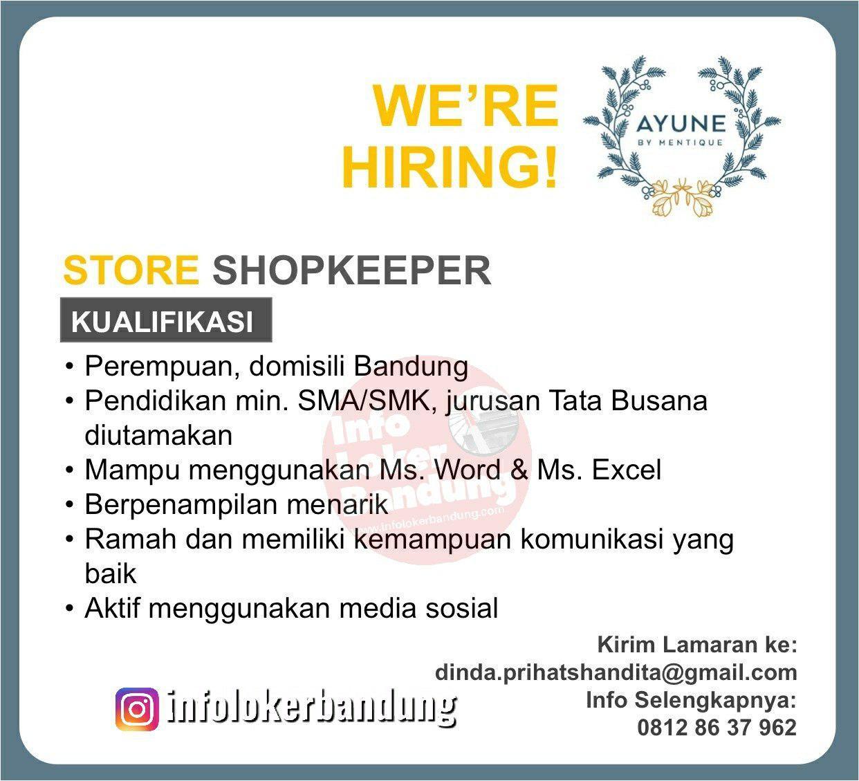 Lowongan Kerja Store Shopkeeper Ayune by Mentique Boutique Bandung April 2019