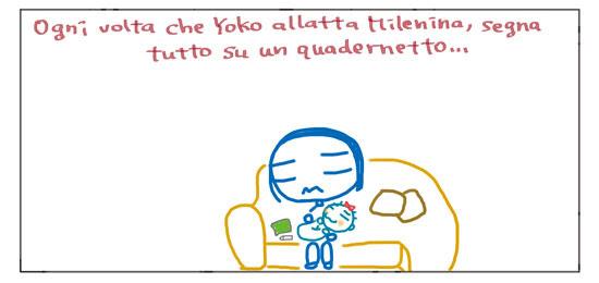 Ogni volta che Yoko allatta Milenina, segna tutto su un quadernetto...