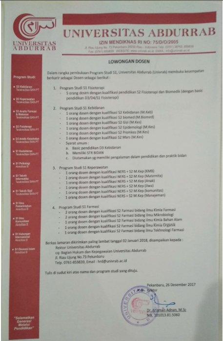 Lowongan Dosen Universitas Abdurrab (Univrab) Pekanbaru