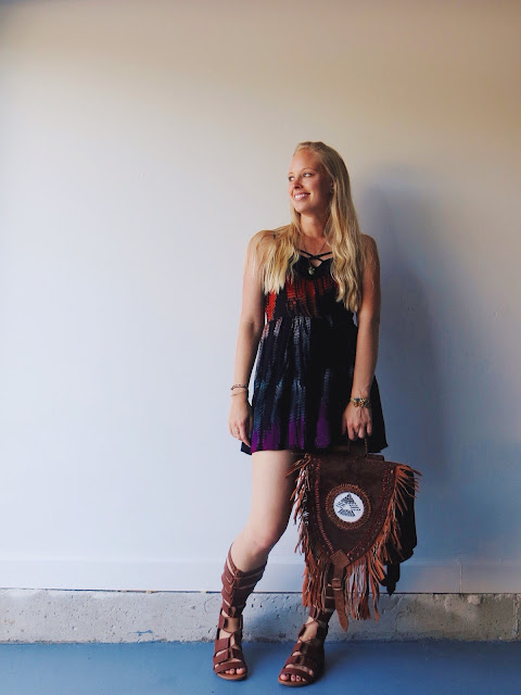Kariella tie dye romper, Ixchel Triangle fringe backpack, AMI Clubwear gladiator sandals, Lazuli Handcrafted stacking rings, Om Saha jade necklace, summer outfit, boho outfit, hippie outfit, festival outfit