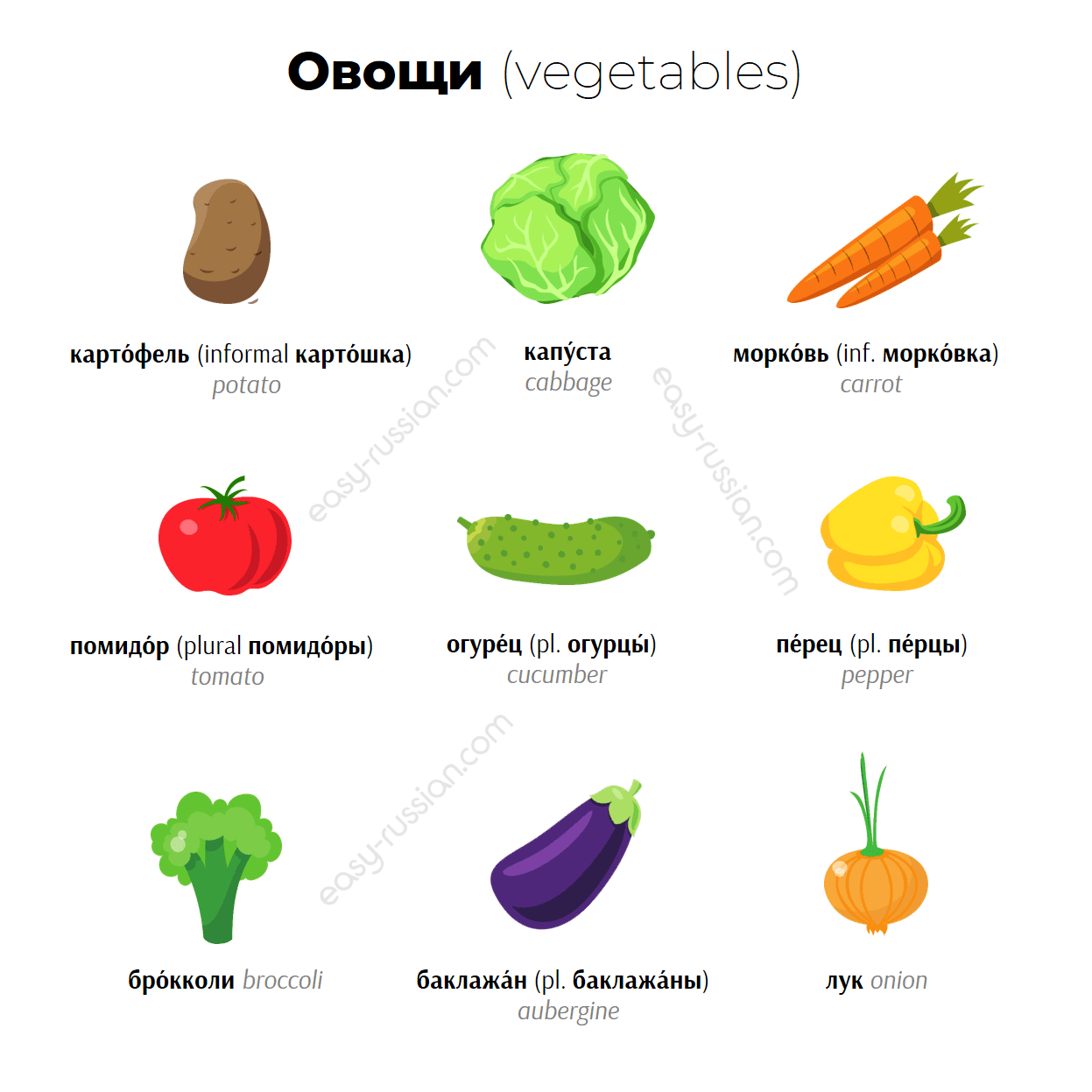 Vegetables in Russian