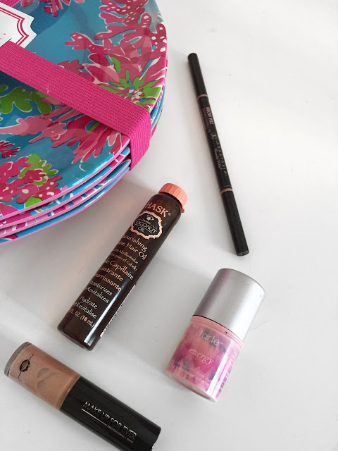 Beauty favorites of 2016: Hask Hair, Anatasia Brow Wiz, Tarte Cheek Stain, and Make Up For Ever lip gloss. Plus Lily Pulitzer Home Decor featuring plates.