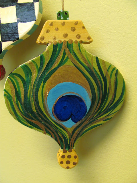 hand painted peacock feather ornament