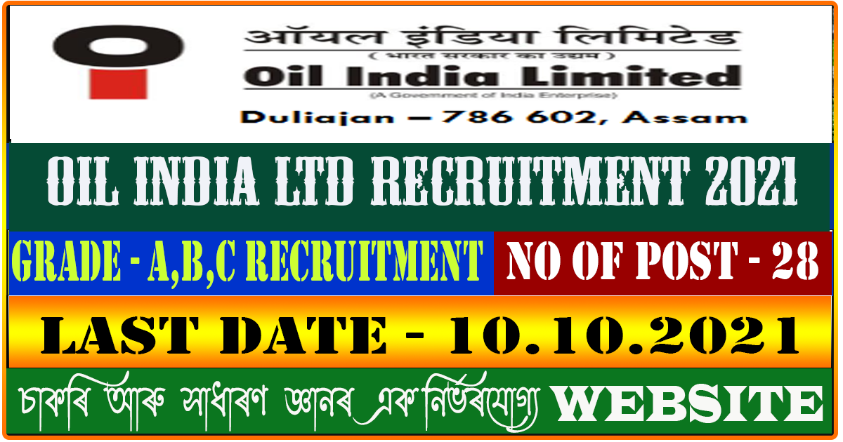 Oil India Limited Recruitment 2021 - Apply Online 28 Grade A,B,C Vacancy