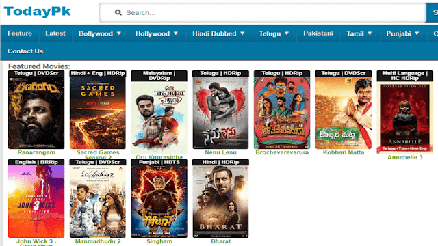 TodayPK 2019 - Download Telugu, Malayalam, Hollywood Movies