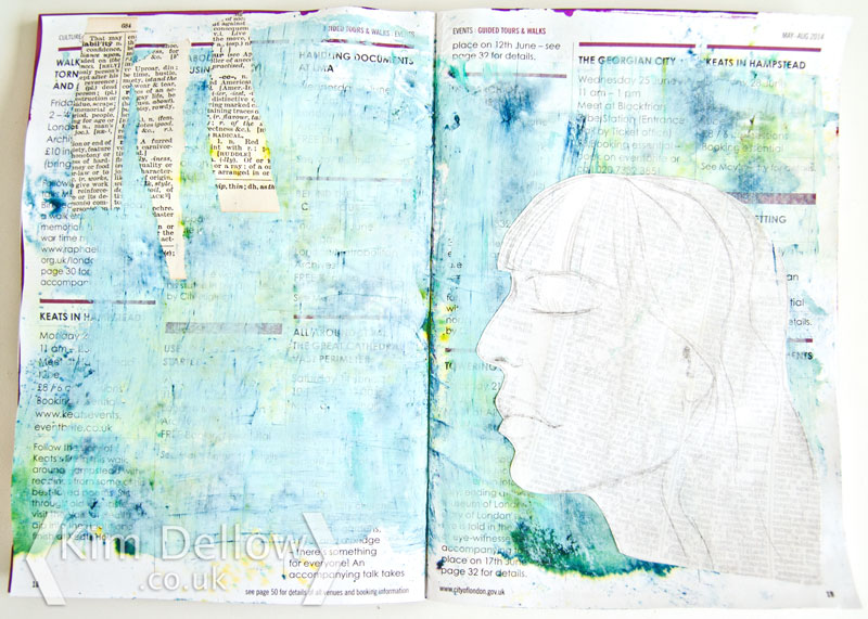 Work in progress art journal page