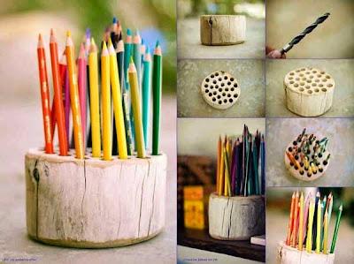 Porta lápices hecho con tronco reciclado