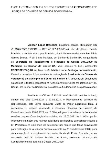 A BRIGA ENTRE PRESIDENTE DA CÂMARA DE BONFIM E EX-SECRETÁRIO DE FINANÇAS DA PREFEITURA NO MINISTÉRIO PÚBLICO
