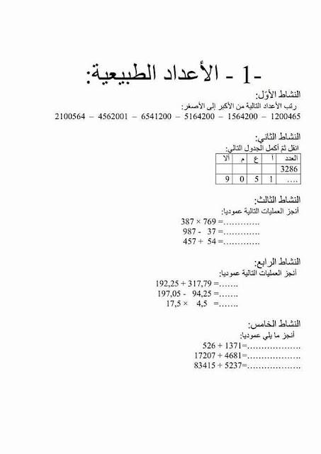 أنشطة الدعم والتقوية للمستويبن الخامس والسادس- الرياضيات