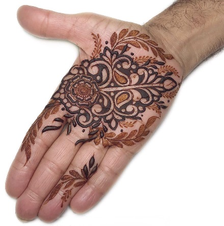Rajasthani Mehndi Design for front hand