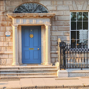 Blue Dublin door on Merrion Square