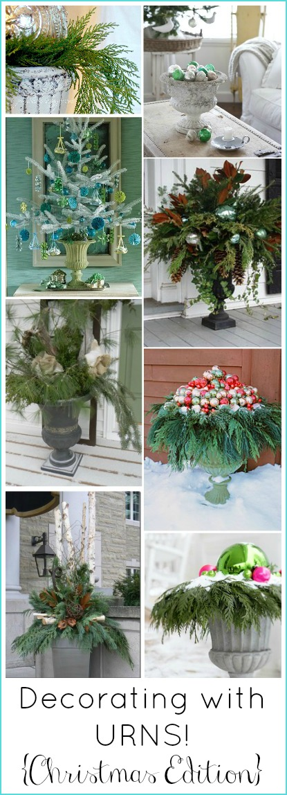 Christmas Decorating Ideas with Urns www.foxhollowcottage.com