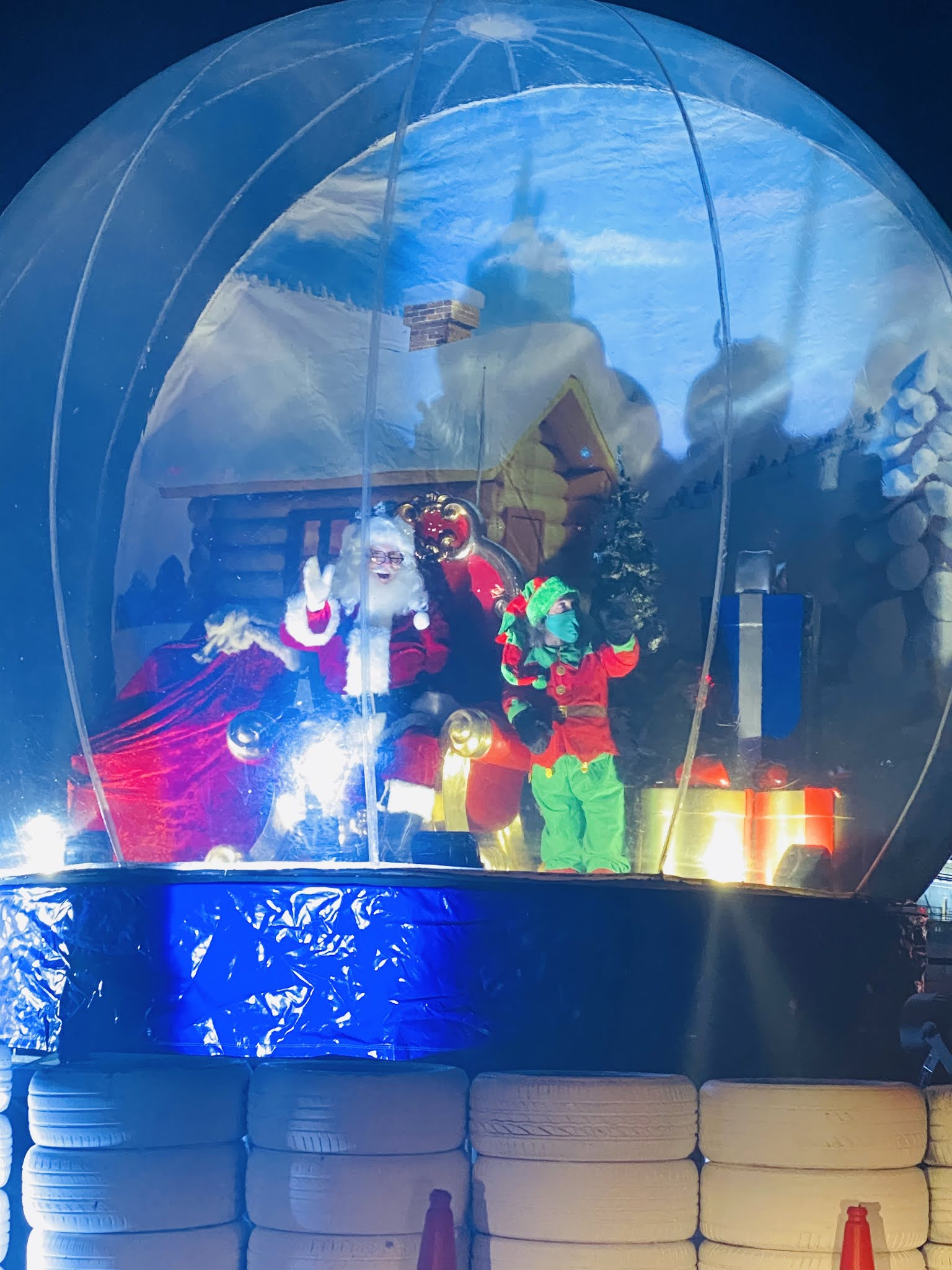 Lap Land Silverstone Review Santa and elf in giant snow globe