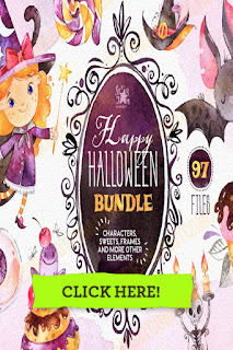 Happy Halloween Watercolor Bundle included Characters, Illustrations, Little witch, Bats, Bunting