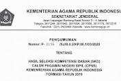 Kemenag: Hasil Tes SKD CPNS 2019 & Peserta Lolos Ke Tahap SKB