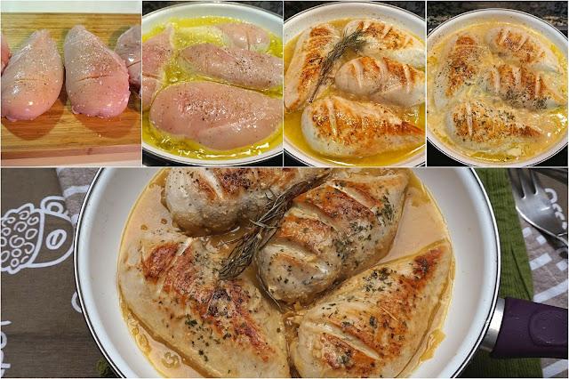 Pechugas de pollo en salsa.