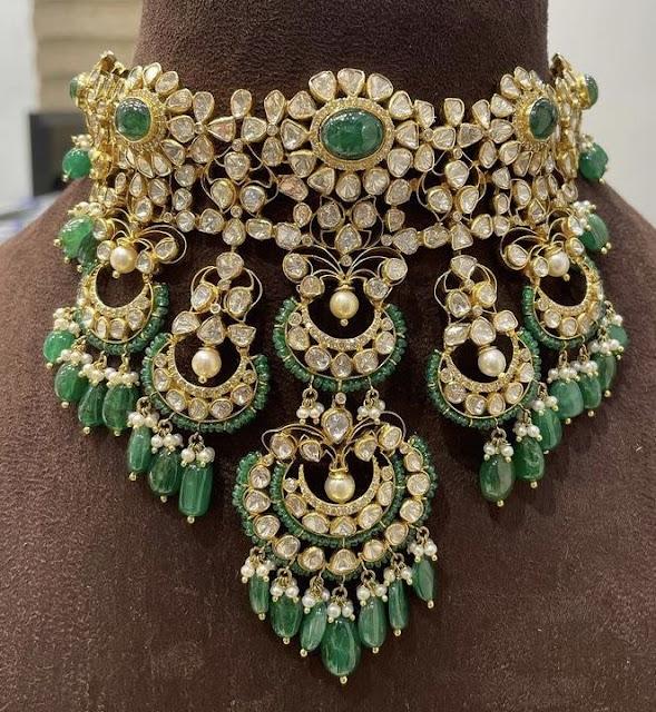 Heavy Flat Diamond Choker with Beads