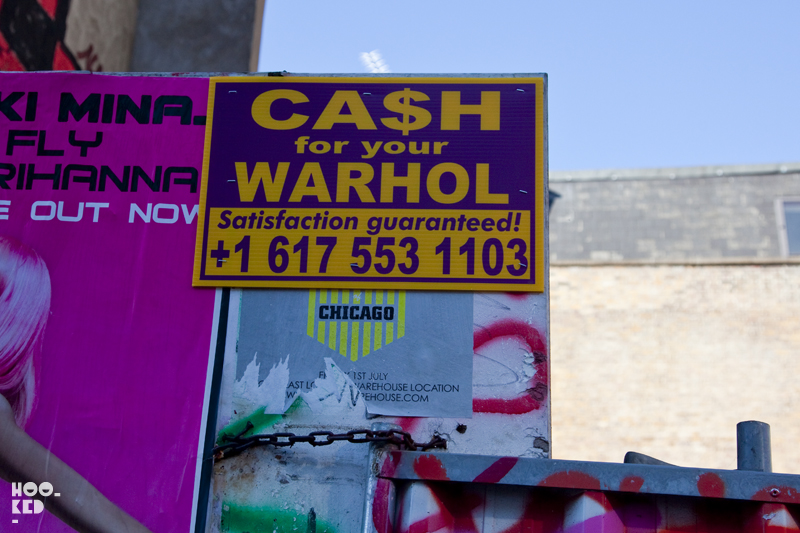 London Street Art in SHoreditch - Cash For Your Warhol