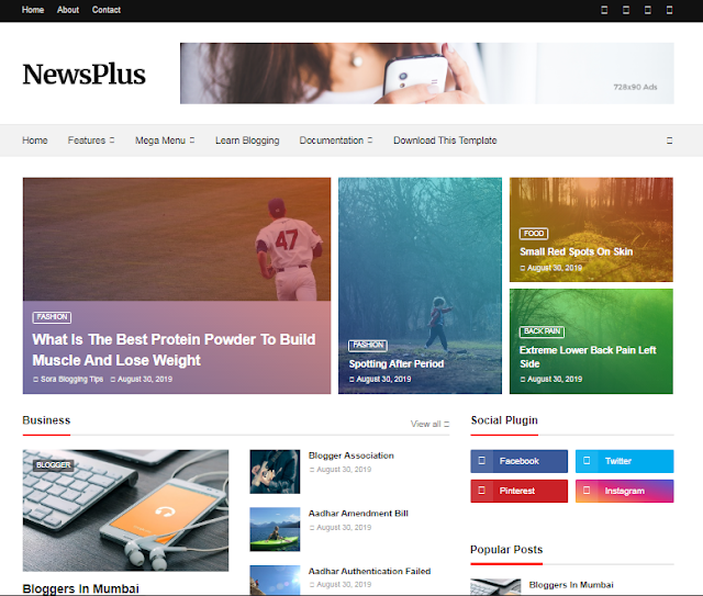 Newsplus premium blogger template free download