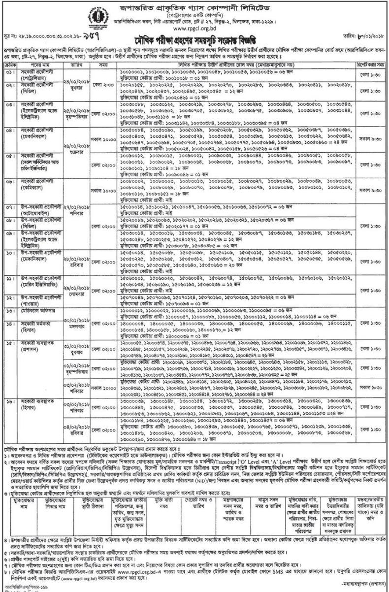 Rupantarita Prakritik Gas Company Job Exam Notice,RPGCL Job Circular