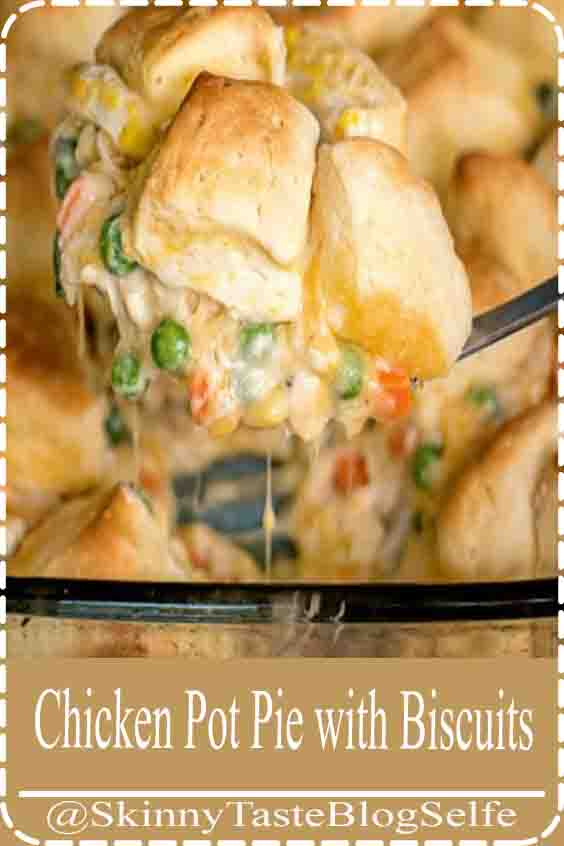 4.7 | ★★★★★ Chicken Pot Pie with Biscuits | EASY CHICKEN POT PIE MADE WITH BISCUITS INSTEAD OF A TRADITIONAL CRUST. THIS BUDGET MEAL IS DEFINITELY A FAMILY FAVORITE! #chickenrecipes #dinnerrecipes #Biscuits #ChickenPot