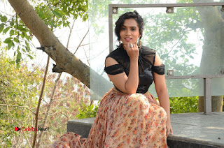 Actress Chetana Uttej Stills in Floral Long Skirt at Pichiga Nachav Movie Press Meet  0137.JPG