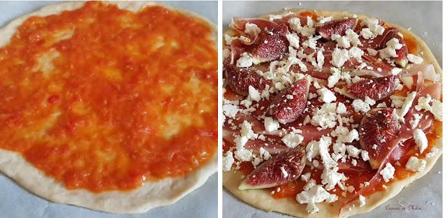 Pizza de jamón, queso de cabra y higos
