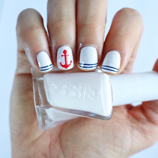 Patriotic Nail Art - Nautical Nail Art - Essie Pre Show Jitters - Tori's Pretty Things Blog