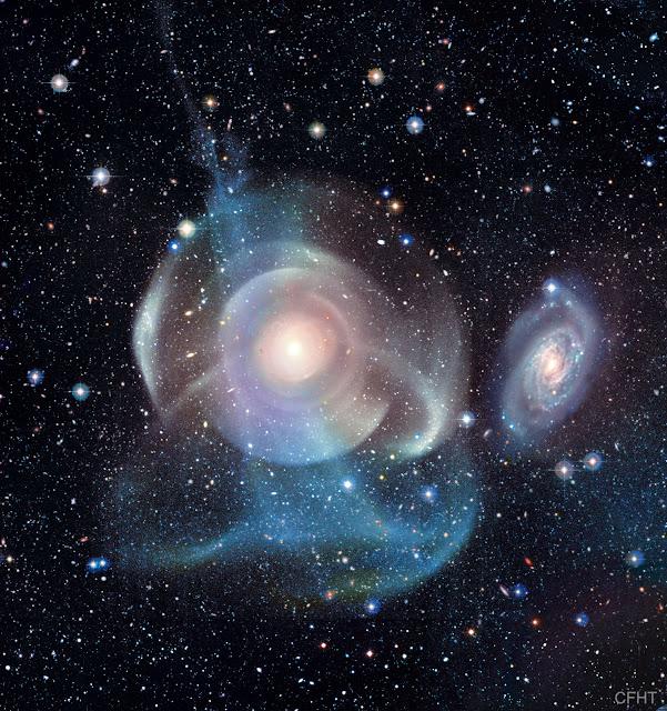 Thiên hà NGC 474: Những lớp vỏ khí và dòng chảy của sao. Hình ảnh: CFHT, Coelum, MegaCam, J.-C. Cuillandre (CFHT) & G. A. Anselmi (Coelum).