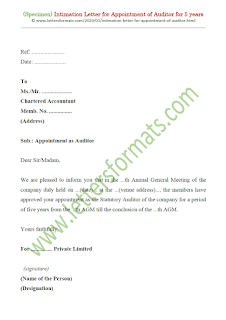 intimation letter for appointment of auditor for 5 years