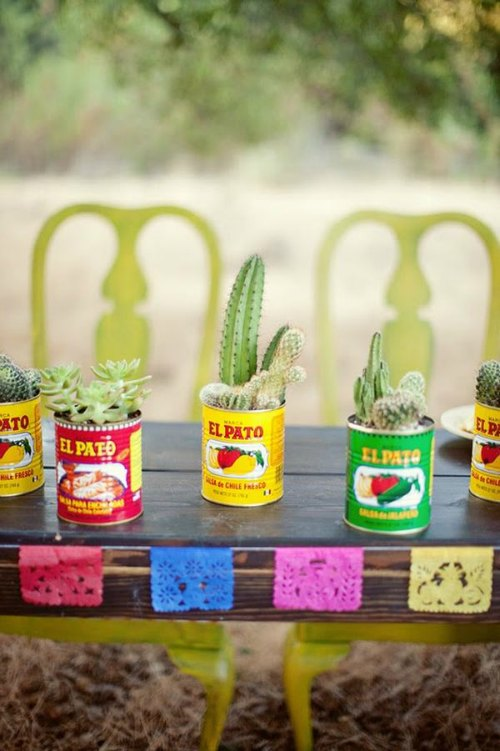 party decorations, fiesta party decorations, colorful cans holding cactus
