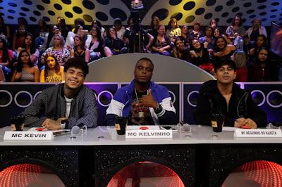 Os jurados de Funkeirinhos – MC Kevin, MC Kelvinho e MC Neguinho do Kaxeta  (Foto: Rodrigo Belentani)