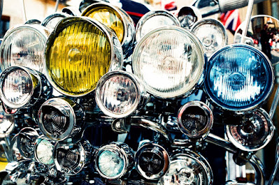 A pleathora of motorcycle headlamps