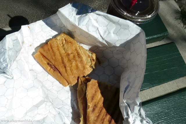 lunch, park, outside, eating outside, iced coffee, panini, sandwich, tasty tuesday, what I ate, food diary