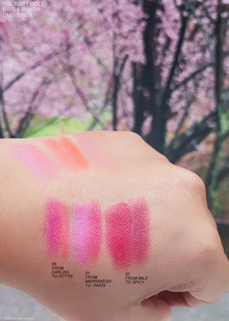 Yves Saint Laurent YSL Baby Doll Kiss Blush Duo Stick Swatches - 05 From Darling to Hottie 01 From Marrakesh to Paris 07 From Mild to Spicy